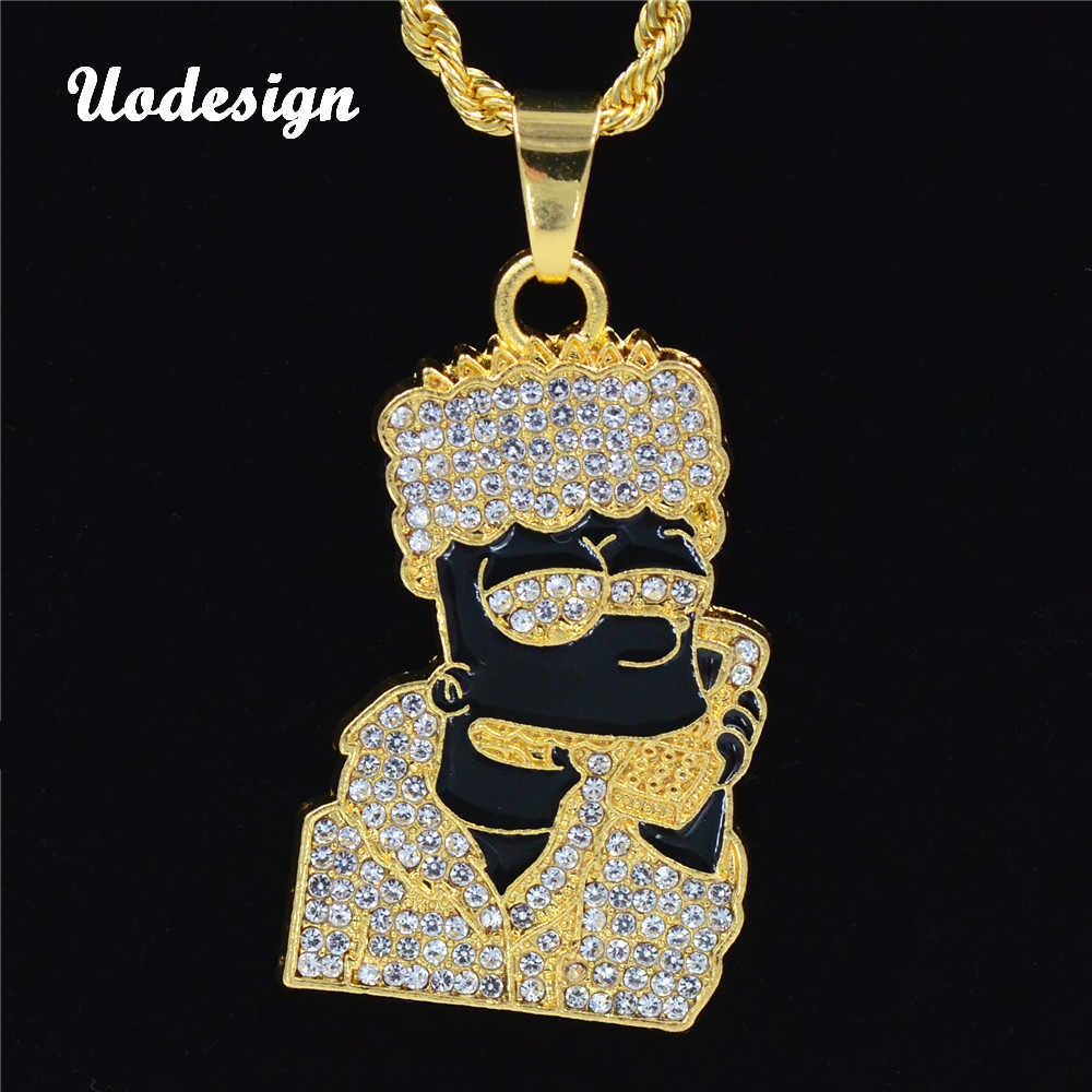 Uodesign Hip Hop Iced Out Choker oleju kryształ Rhinestone Cartoon głowy rysunek naszyjnik wiszący prezent Bling raper mężczyźni biżuteria