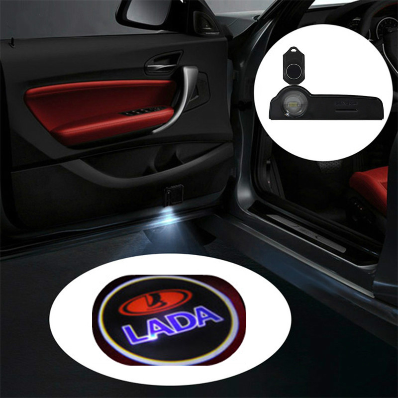 1pc Car LED Logo Light Door Projector Welcome Lights Accessories For Lada Granta Vesta Priora Kalina Niva Largus Vaz Samara 2106