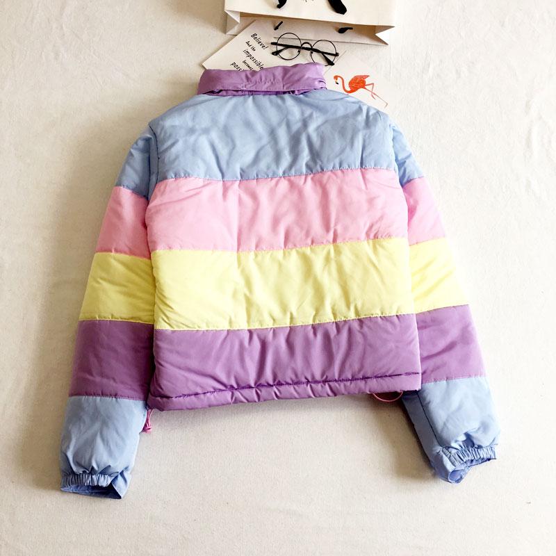Harajuku Women Coat   Parkas   Mujer Short Padded Warm Jacket Rainbow Stripe Splicing Fluffy   Parka   Femme Clothing Winter