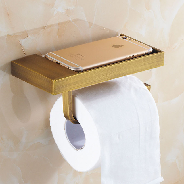 Antique Br Brushed Toilet Paper Holder And Hook Roll Rack With Phone Shelf Wall Mounted