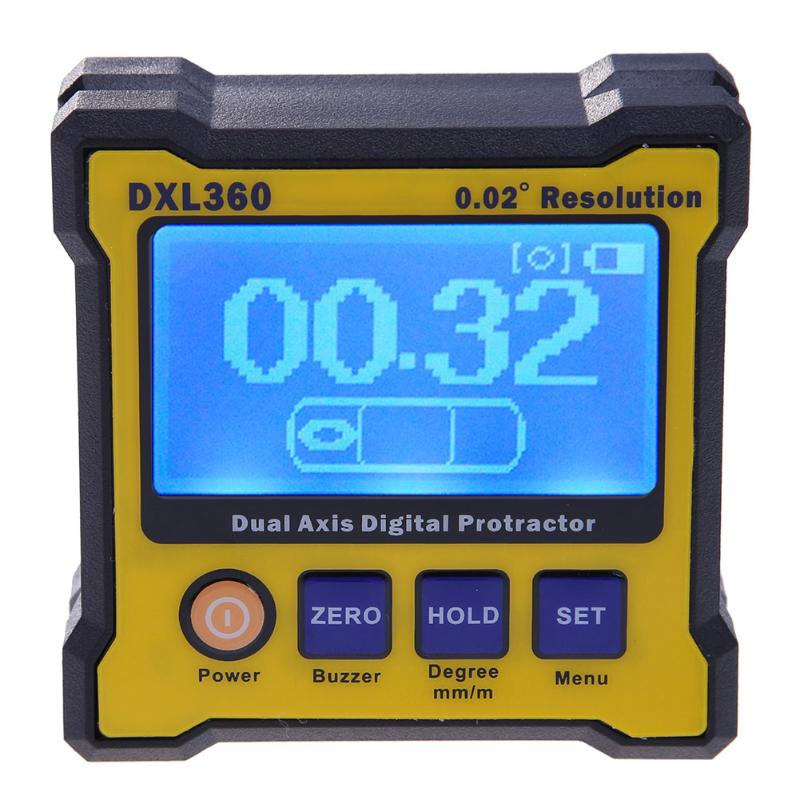 DXL360 70*70mm High Precision Dual Axis Goniometer Angle Meter Resolution Digital Level Gauge with USB Cable and Charger