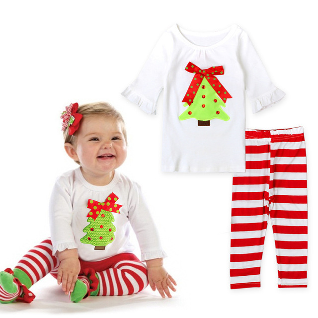 y01 x086 children kids girl clothing long sleeve infantis spring autuman christmas suit green tree