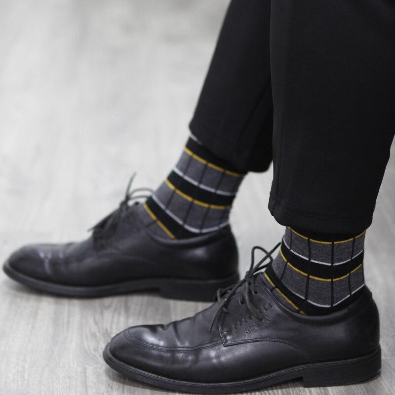 Image 5 - Match Up Men Business Cotton Stripe Plaid Socks Cool Casual Dress Socks Wedding gift Socks(5 Pairs / lot )-in Men's Socks from Underwear & Sleepwears