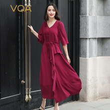 VOA Women Silk Dress Elegant V Neck Half Sleeve vestidos mujer befree Long Dresses sukienki Robe hiver Wine Red Casual A10115