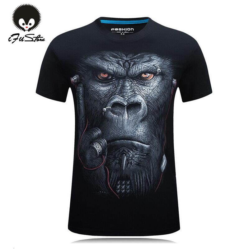 20 style S-6XL 3D T-shirt Mens Hot 2016 Summer Animal Snake Tiger Wolf Lion Printed T-shirts Men Cotton Casual Brand T shirt
