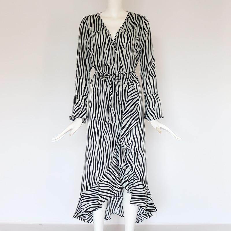Long Dresses 19 Women Zebra Print Beach Bohemian Maxi Dress Casual Long Sleeve V Neck Ruffles Elegant Party Dress Vestidos 18