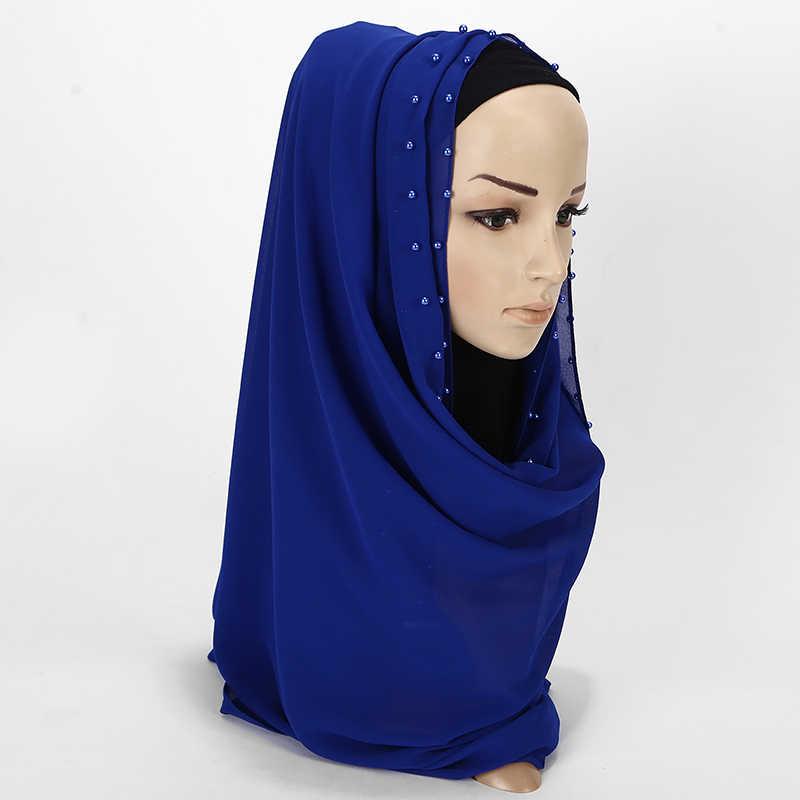 10 قطعة نيس اللؤلؤ الملونة وشاح كبير Solider اللون جودة فقاعة وشاح شيفون شالات عادي الحجاب وشاح إسلامي 20 اللون 180*75 سنتيمتر