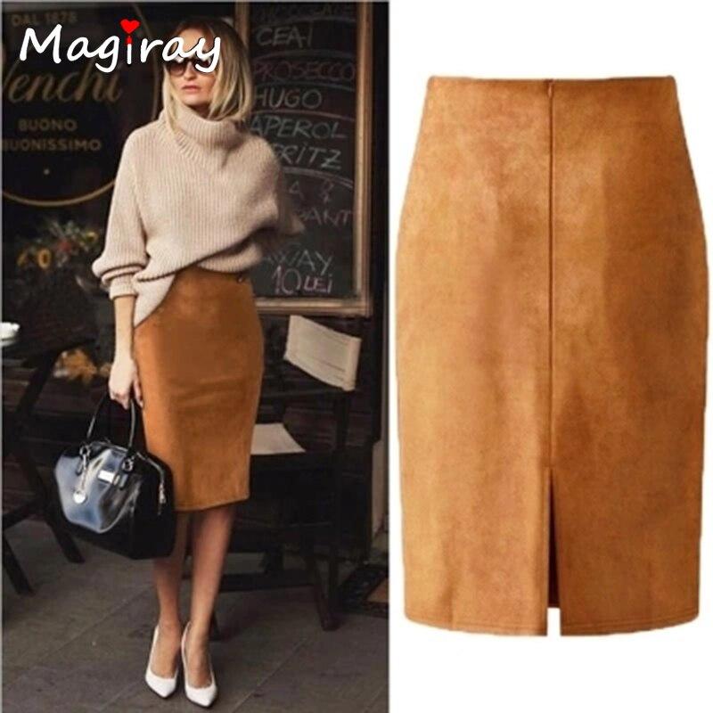 Magiray Harajuku Sexy High Waist Suede Midi Skirt Women 2019 Autumn Winter Split Red Black Pink Female Leather Pencil Skirt C333
