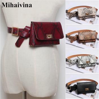 8a293d41 Mihaivina riñonera de cuero para las mujeres, bolso de la cintura 2019 de  lujo Bolsa De mujer negro/blanco Fanny Pack serpentina cintura paquete de  bolsillo