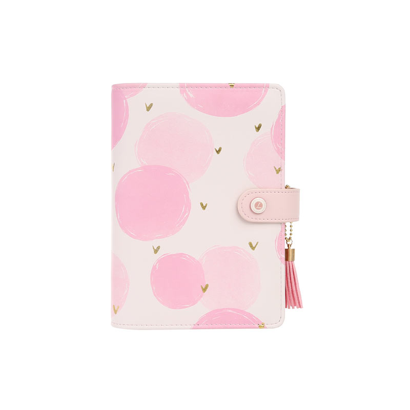 lovedoki 2019 New Arrive Pink Wave Point A6 Binder Planner Loose Leaf Spiral Diary Notebook Stationery