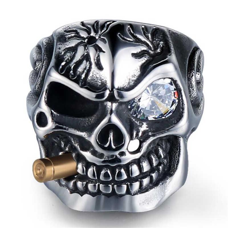 シルバー喫煙パイプバイカー男性のリングロックパンクスカルリングチタン鋼クリアジルコン目メッキリング男性ジュエリー