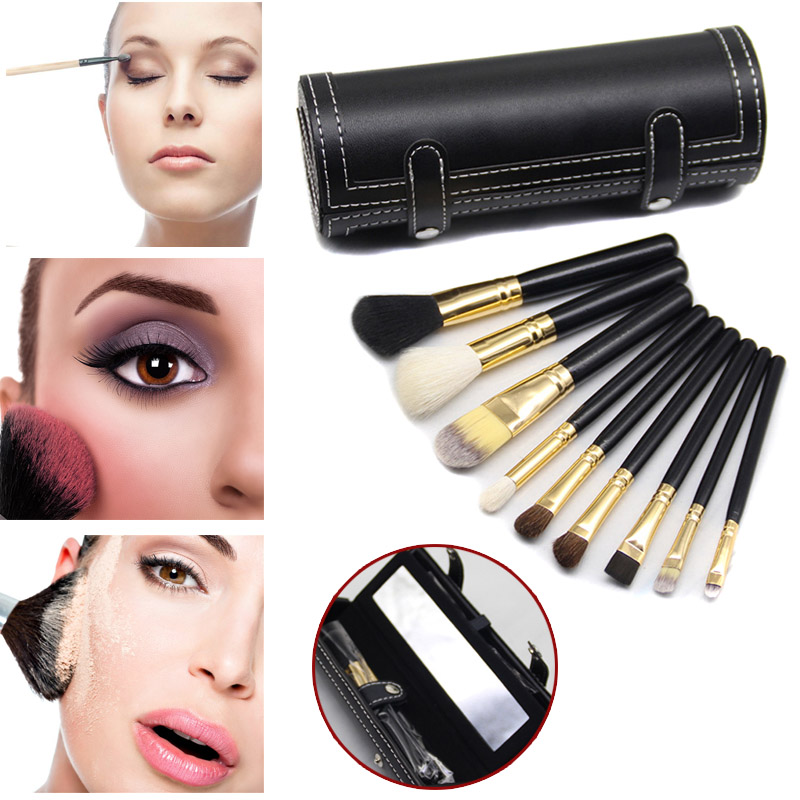 2018 9pcs Makeup Brush Cosmetic Tools Toiletry Set Wooden Handle Face Eyes Eyeshadow Foundation finding color professional wooden cosmetic makeup bevel foundation brush brown