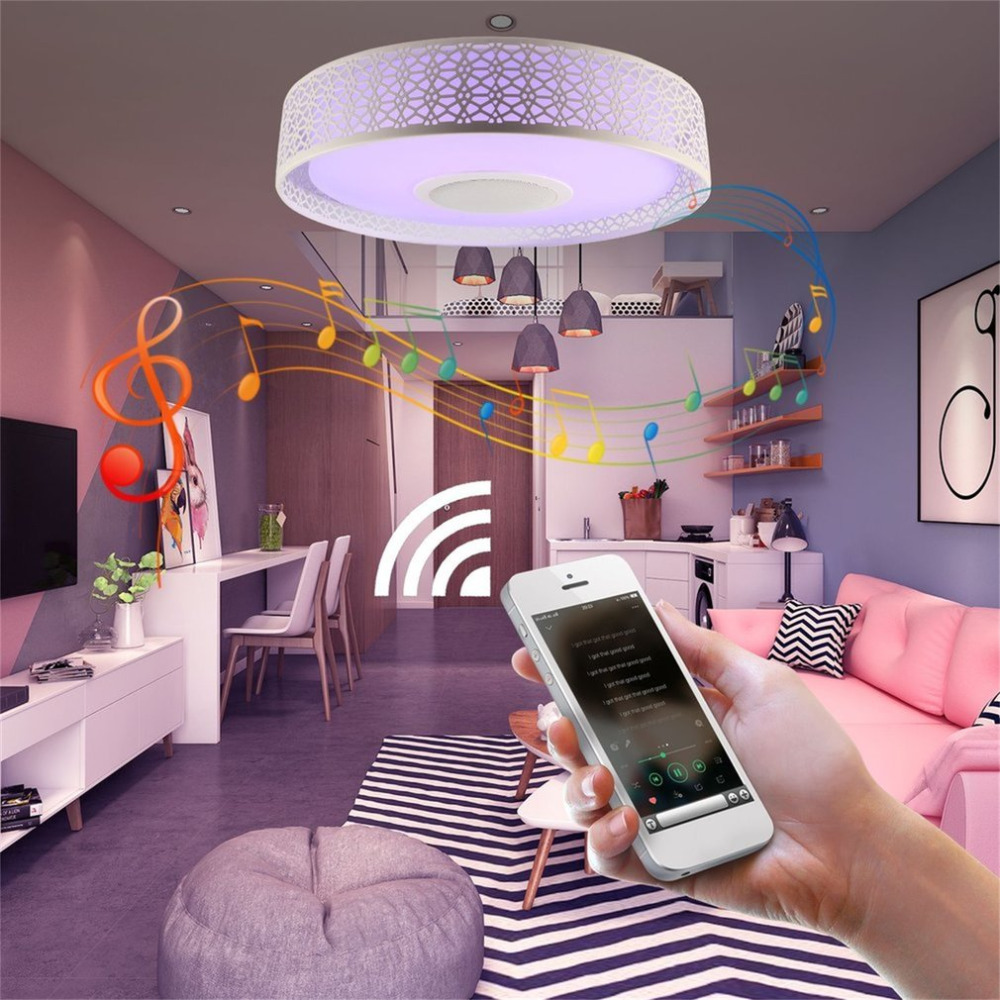 RGBW Music LED Ceiling Light Dimmable Bluetooth Music Player, Colorful Surface Mounted Lamp, Timer APP Control 85-265V 27-36W