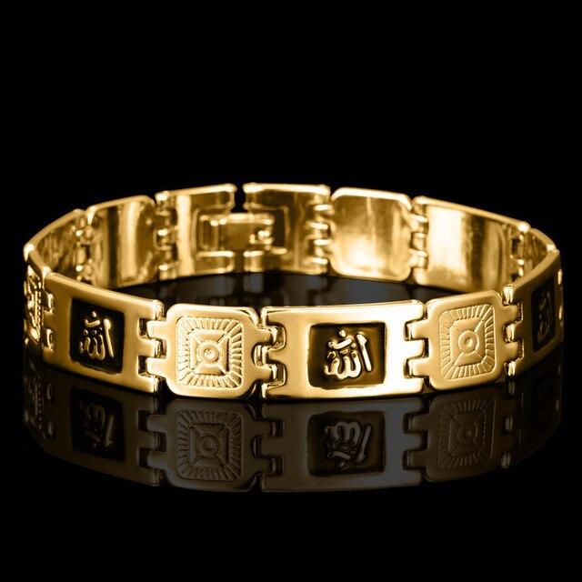 Moda Altın Renk Müslüman Allah Bilezik İslam Dini Bilezik Bileklik Erkekler Kadınlar Için Takı Hediye