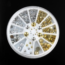 1 Wheel 1.5mm/2mm/2.5mm/3mm/4mm/5mm Metal Round Studs Silver & Gold 3D DIY Nail Charms Accessory for Decoration ZP68#