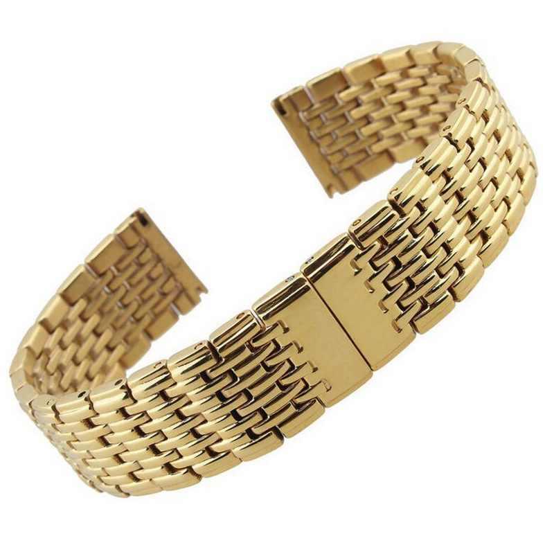 Bracelet de montre en acier inoxydable de haute qualité avec fermoir papillon 13mm 18mm 20mm 22mm Bracelet de montre en acier inoxydable pour hommes Bracelet en or Rose argenté