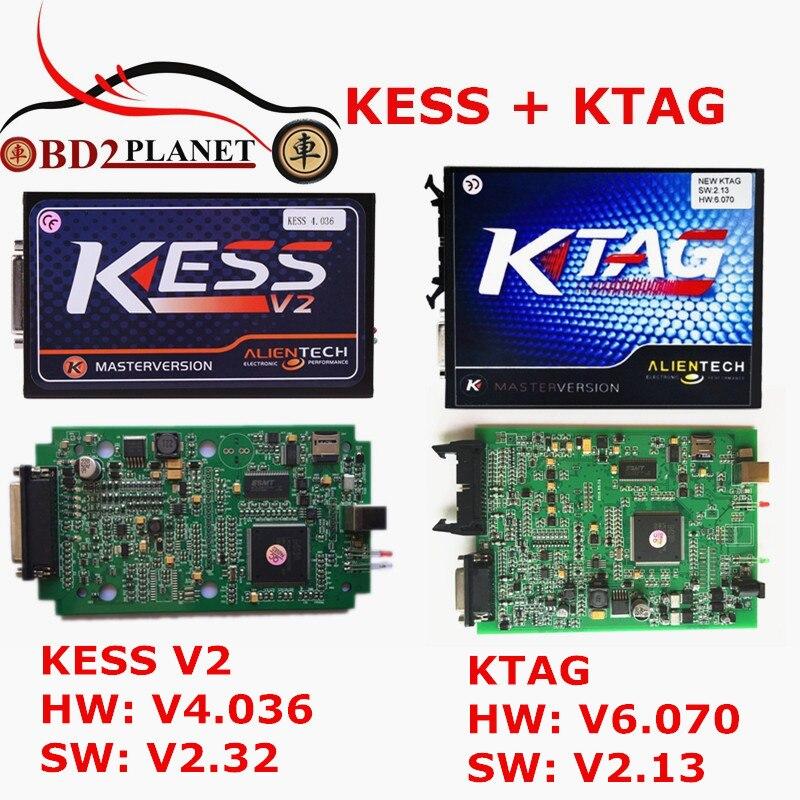 Цена за 2017 KESS V2 V2.32 FW V4.036 OBD2 менеджер Тюнинг Комплект мастер + KTAG V2.13 FW V6.070 ЭКЮ программист инструмент K-TAG С ECM Титан