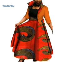 New African Top and Tutu Skirts Sets for Women Bazin Riche African Women Clothing Dashiki 2 Pieces Coat and Skirts Sets WY3386