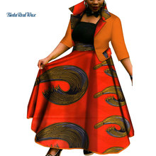 New African Top and Tutu Skirts Sets for Women Bazin Riche Clothing Dashiki 2 Pieces Coat WY3386