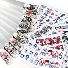 24pcs Halloween Nail Art Water Transfer Decals Nail Sticker Skull Bone Clown Vampire Sliders For Nails Accessories JISTZ731 755