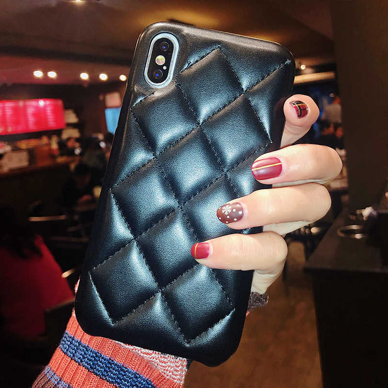 Pour iPhone 11 Pro XS Max Housse Coque Etui De Luxe Mignon Doux Matelassé En Cuir PU Antichoc Téléphone étui pour iPhone 6 6s 7 8 Plus X XR Cas