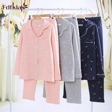 Fdfklak женский пижамный комплект Пижамный костюм с принтом хлопковая демисезонная Пижама женская Свободная Женская пижама Пижама femme