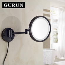 Gurun LED Makeup Mirror- 2017 New arrival Fixed on the wall, turn 180 degrees 10X, zoom in with a LED mirror M1807DORB