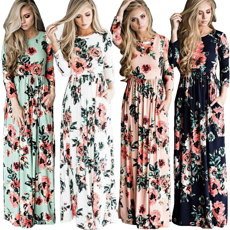 Amazon Wish Fast Selling Ebay Explosion Money, European And American Women's Clothing Long Sleeved Print Dress In Autumn Win