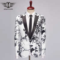 Plyesxale Casual Male Blazer Jacket 2018 Slim Fit White Black Bamboo Print Blazer Men High Quality Mens Prom Party Blazers Q468