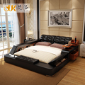 luxury bedroom furniture sets modern leather queen size double bed with side storage cabinets bed tail stool no mattress