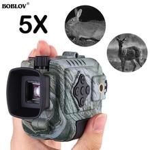 BOBLOV P4 5X 디지털 줌 야간 투시경 단안 용 고글 사냥 용 단안 용 200M 적외선 카메라 기능