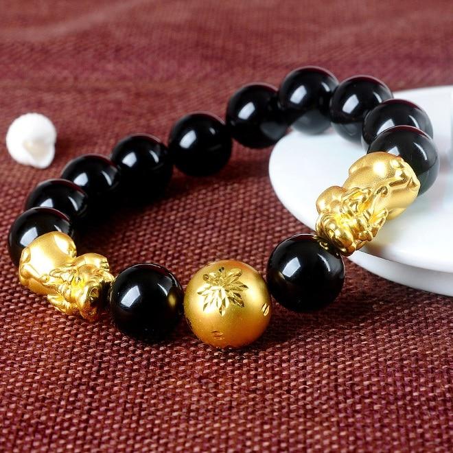 Nouveau pur 999 24 K or jaune 3D béni Pixiu & Fine perle de flocon de neige Bracelet en Agate chanceux patron de l'homme
