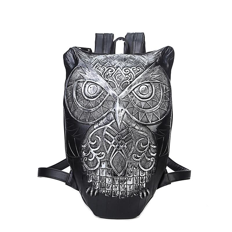 Cute 3D Owl Backpacks Punk PU Leather Bag Fashion Casual Women Shoulder Bag Travel Loptop Camera Packs Large Space Zip Backpacks