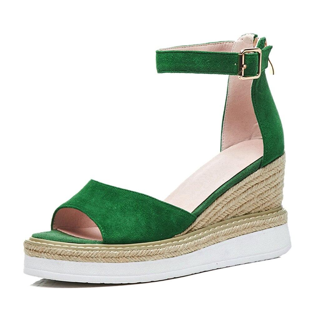 34 Moda Talones Negro Nueva Mujeres Peep Tamaño Hebilla verde Sandalias 39 Morazora Boda Toe Simple Zapatos 2018 Elegante Cuñas FqWAE