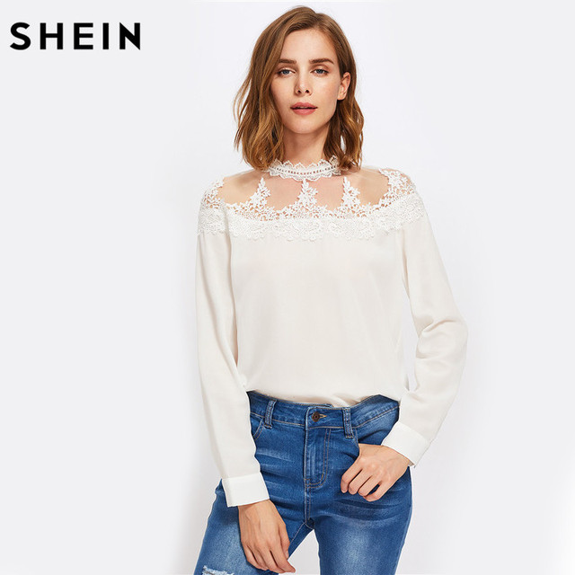 Mesh Yoke Lace Long Sleeve Blouse