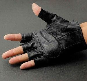 Image 3 - Męska prawdziwa skórzana czaszka punk rocker jazdy motocyklowe rękawiczki bez palców