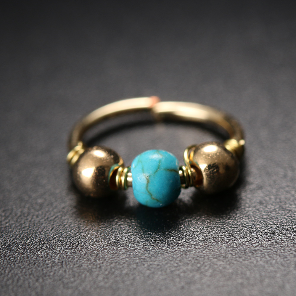 2 Pcs New Stainless Steel Nose Ring Blue Nature Stone