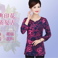 Spring and Autumn in the old mother fitted with retro print t-shirt long sleeve T-shirt  P3436