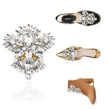 цена 1pcs Crystal Bridal Wedding Party Shoes Accessories High Heels Shoes DIY Manual Rhinestone Shoe Decorations Shoe flower AAAA7 в интернет-магазинах