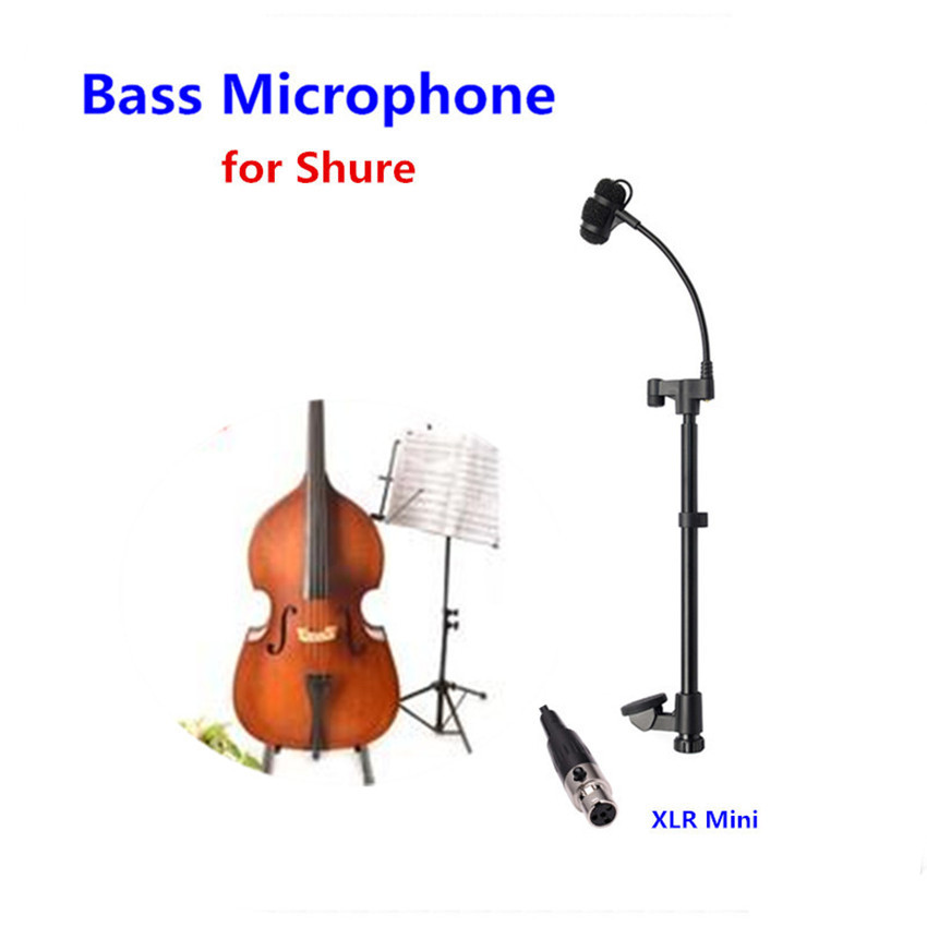 лучшая цена Professional Lapel Music Instrument Double Bass Microphone Condenser Mikrofon for Shure Wireless Transmitter etc Mini XLR 4Pin