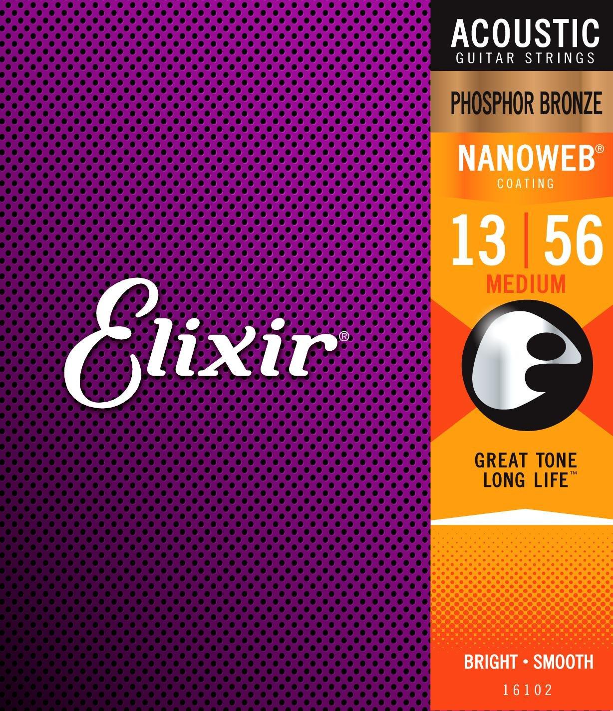 цена на Elixir Original 16102 Acoustic Phosphor Bronze with NANOWEB Coating Medium 13-56