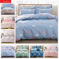 Cute Kitty Cat Pattern Blue Duvet Cover 3/4 pcs Bedding Set Couple Kids Child Soft Cotton Bed Linen Single Full Queen King Size