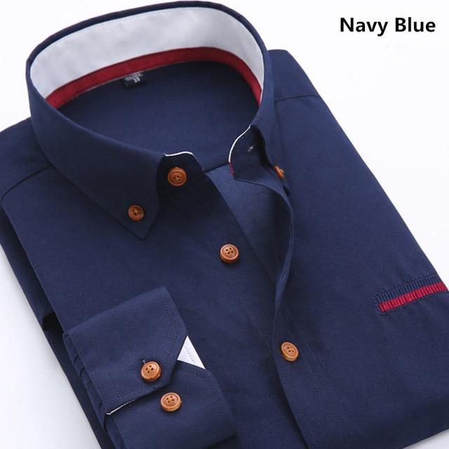 35ab3e0ccfa business Casual Shirts Men 3XL Designer Brand Slim Fit Man Shirts Long  Sleeve White Cotton Shirts