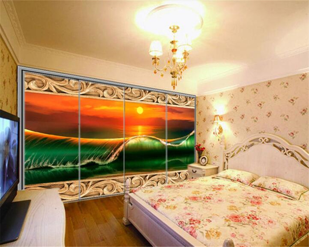 Beibehang Custom mural wall paper sunset wave landscape wood carving ...