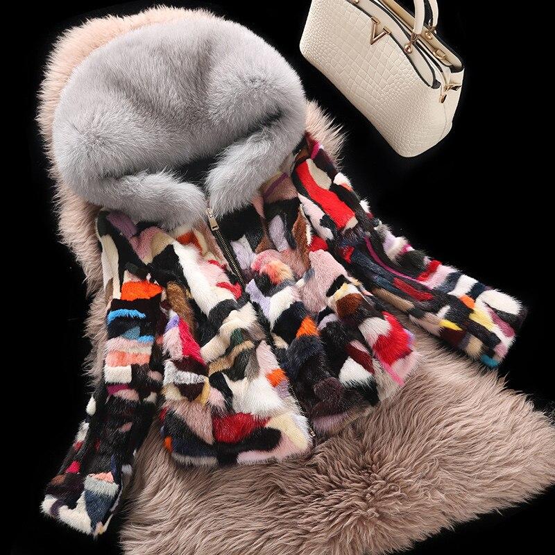 Большой Лисий меховой воротник радуги элегантные реального норки Мех животных Пальто для будущих мам верхняя одежда Для женщин натуральны...