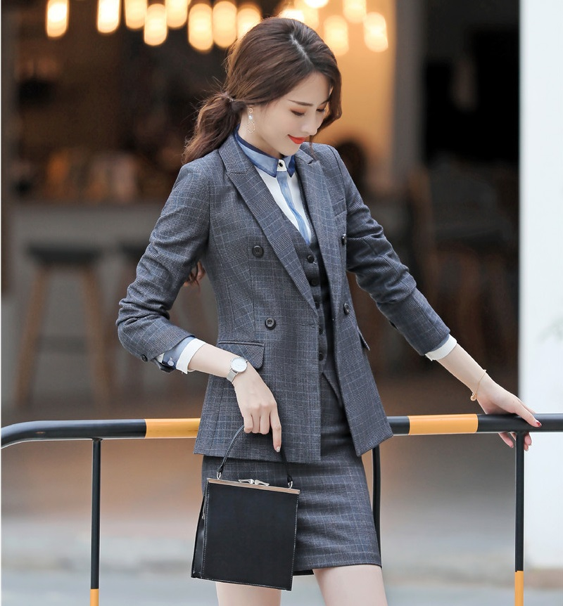Haute Femmes Blazers Grey De Pièces Plaid brown Mode Veste Costumes Et Plaid Qualité Ensemble Gilet Tissu Vestes 3 Avec Jupe Formelle 80qfU5w