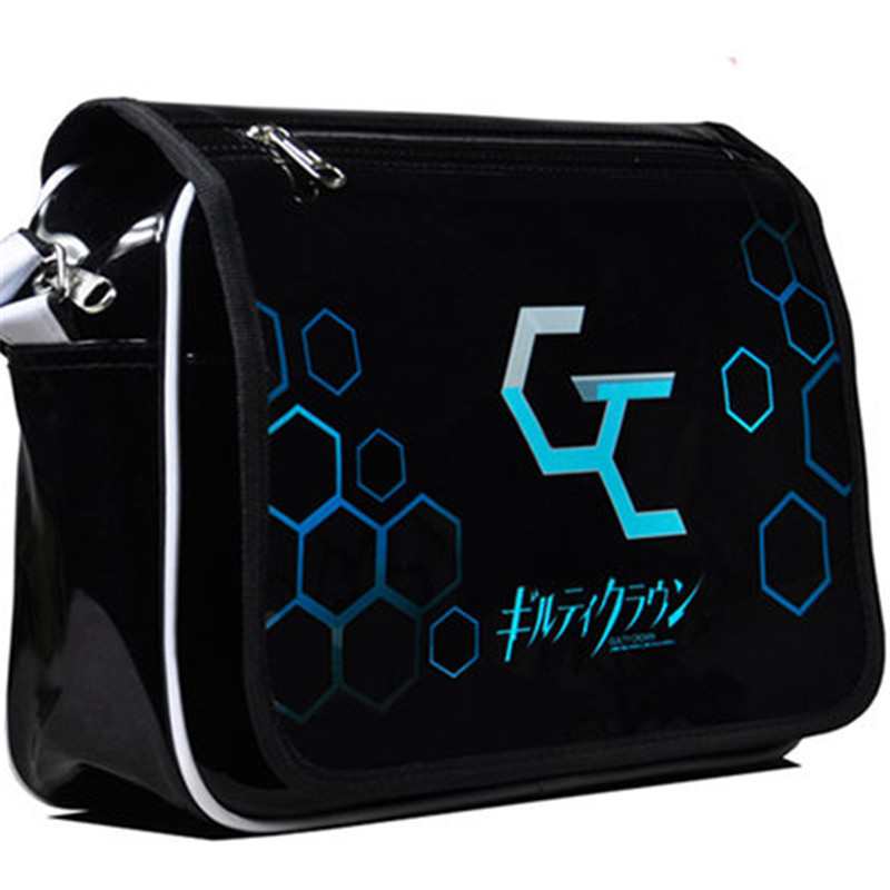 Guilty Crown Anime Cartoon Schoolbag patent leather Waterproof Shoulder Bag Ouma Shu Cosplay Students Messenger Bags