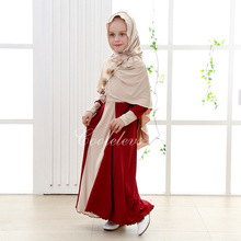 Muslim cotton abaya islamic clothes for children Malaysia high quality jibabs kaftan for girl princess dress
