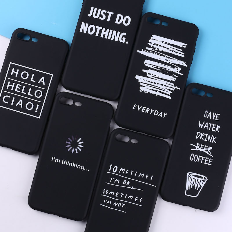 For <font><b>iPhone</b></font> 11 8 8Plus X 7 7Plus Soft TPU Silicone Matte <font><b>Case</b></font> Girl Sticker Memes Cool Quote <font><b>Funny</b></font> Words For <font><b>iPhone</b></font> 6 6S 5 XS Max image