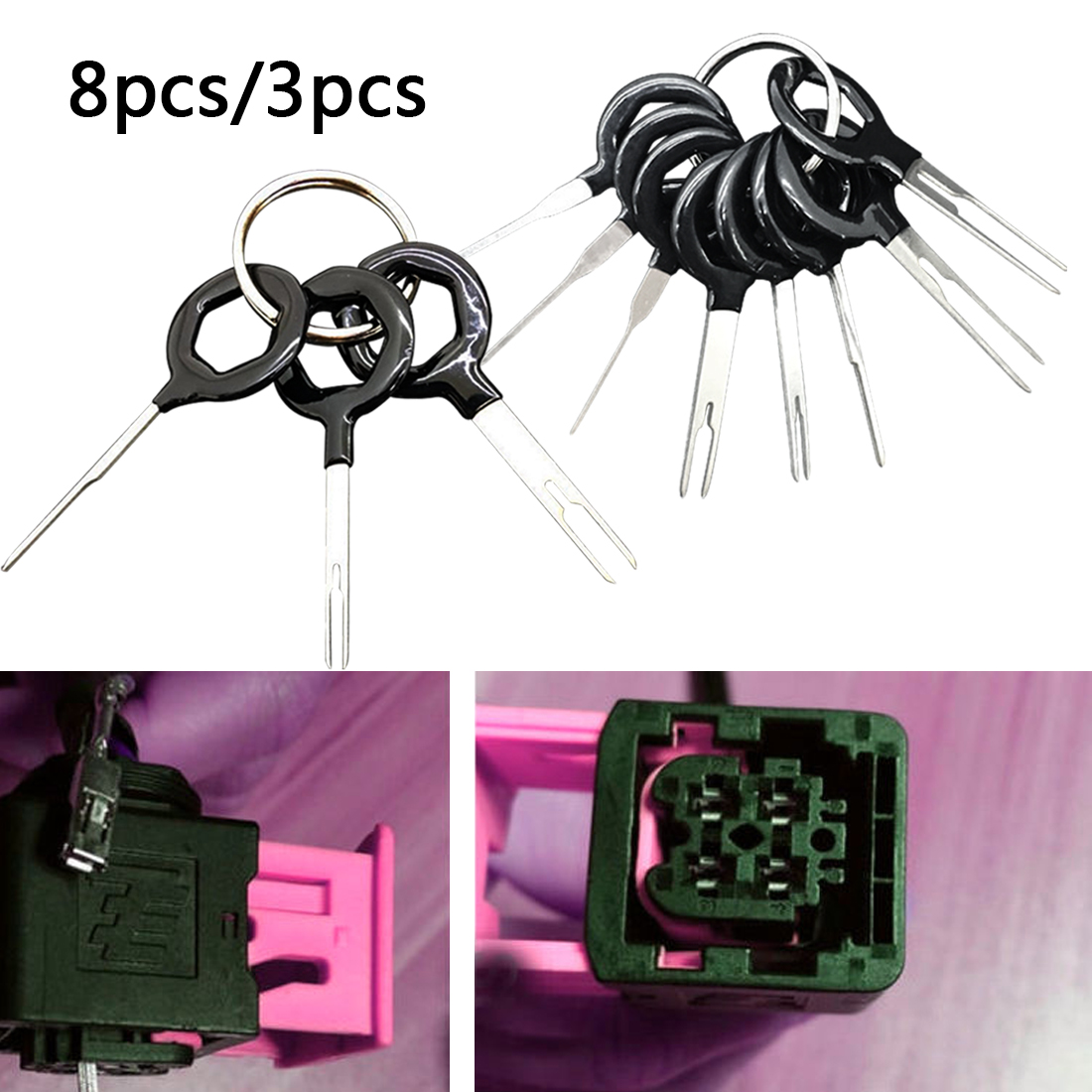 11pcs Car Electrical Wiring Crimp Connector 8pcs/3pcs Terminal Removal Tools Pin Extractor Kit Car Repair Plug Key Hand Tool Set